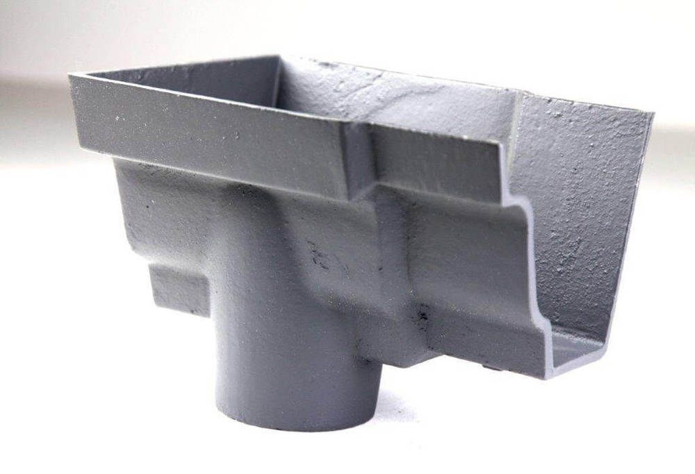 Cast Iron Moulded Ogee Gutter Left Hand Stopend Outlet - 100mm for 75mm Downpipe Primed