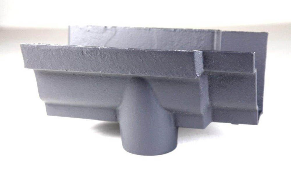 Cast Iron Moulded Ogee Gutter Running Outlet - 125mm for 65mm Downpipe Primed