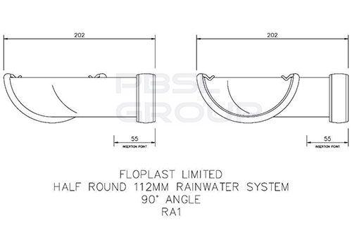 Half Round Gutter Angle - 90 Degree x 112mm Black