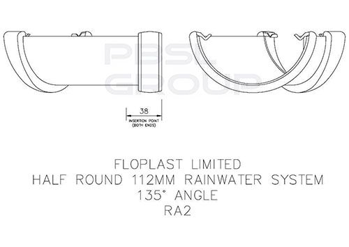 Half Round Gutter Angle - 135 Degree x 112mm Cast Iron Effect