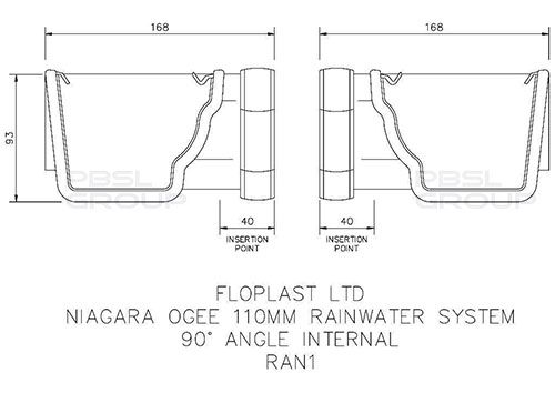 Ogee Gutter Internal Angle - 90 Degree x 80mm Brown