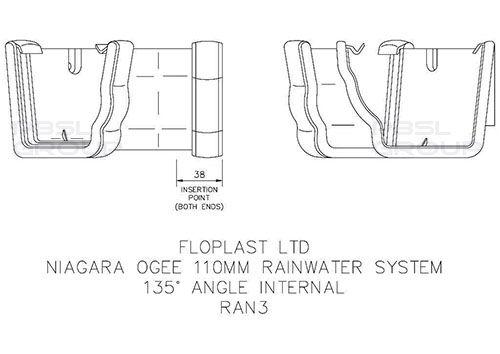 Ogee Gutter Internal Angle - 135 Degree x 80mm Black