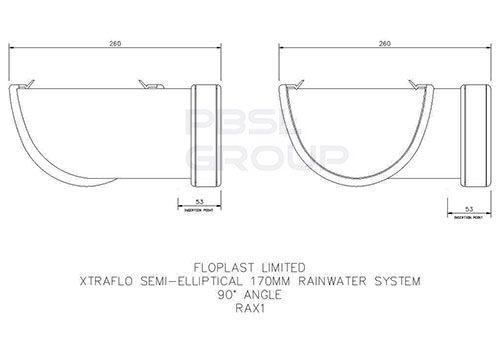 Industrial/ Xtraflo Gutter Angle - 90 Degree x 170mm White
