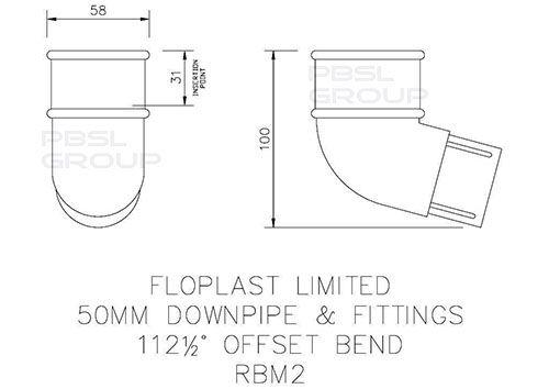 Mini Gutter Offset Bend - 112 Degree x 50mm Black