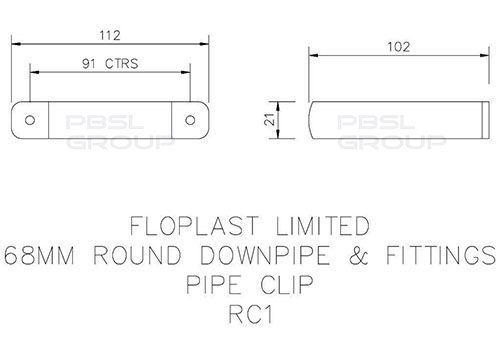 Round Downpipe Clip - 68mm White