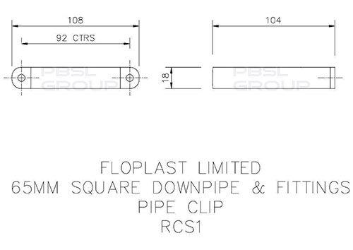 Square Downpipe Clip - 65mm Black