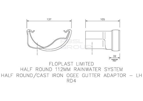 PVC Half Round to Cast Iron Ogee Left Hand Gutter Adaptor - White