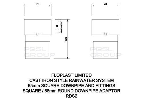 PVC Square to PVC Round Downpipe Adaptor - Black