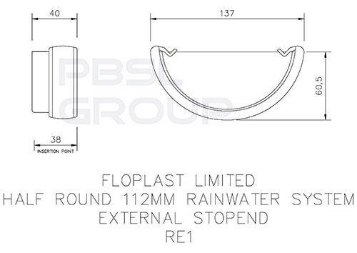 Half Round Gutter External Stopend - 112mm Brown