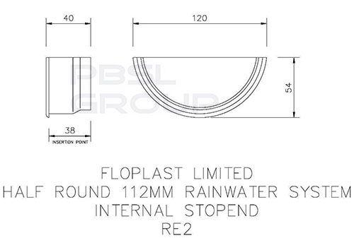Half Round Gutter Internal Stopend - 112mm Grey