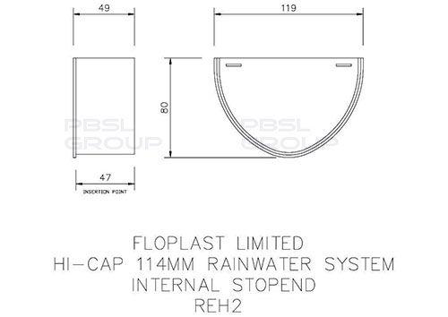 Deepflow/ Hi-Cap Gutter Internal Stopend - 115mm x 75mm Grey