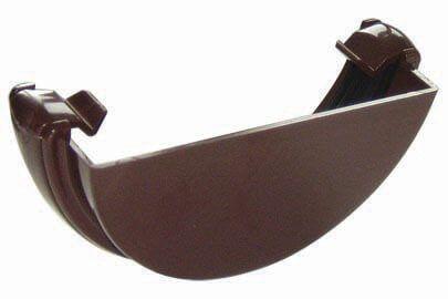 Mini Gutter External Stopend - 76mm Brown