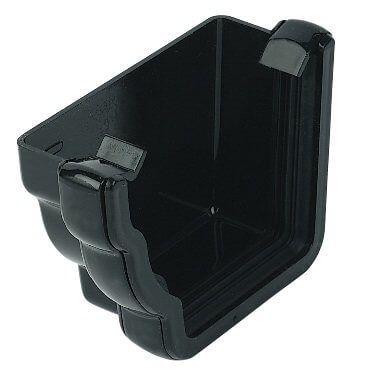 Ogee Gutter External Stopend Left Hand - 110mm x 80mm Black