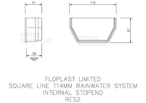 Square Gutter Internal Stopend - 114mm White