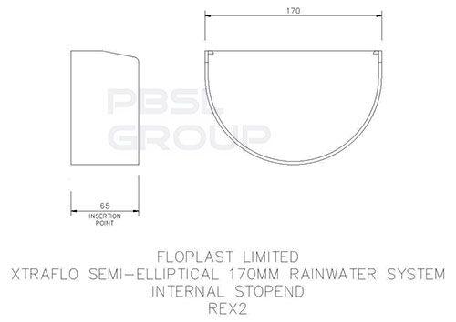 Industrial/ Xtraflo Gutter Internal Stopend - 170mm White