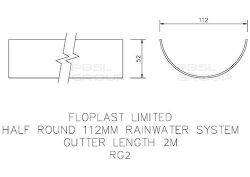 Half Round Gutter - 112mm x 2mtr White