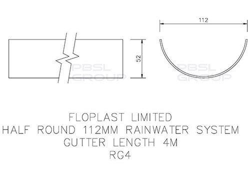 Half Round Gutter - 112mm x 4mtr Black