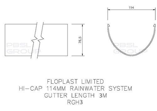 Deepflow/ Hi-Cap Gutter - 115mm x 75mm x 3mtr Black