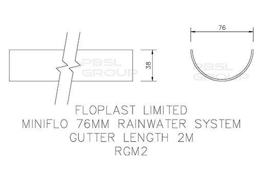 Mini Gutter - 76mm x 2mtr Black