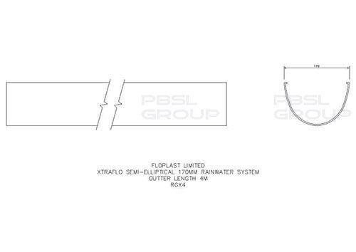 Industrial/ Xtraflo Gutter - 170mm x 4mtr Grey