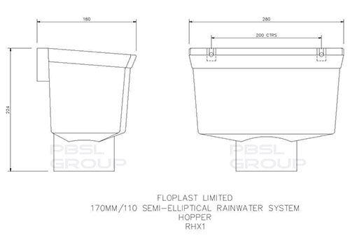 Industrial/ Xtraflo Gutter Hopper - 170mm Grey