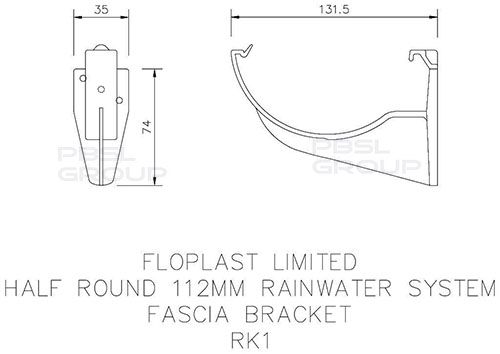 Half Round Gutter Fascia Bracket - 112mm White