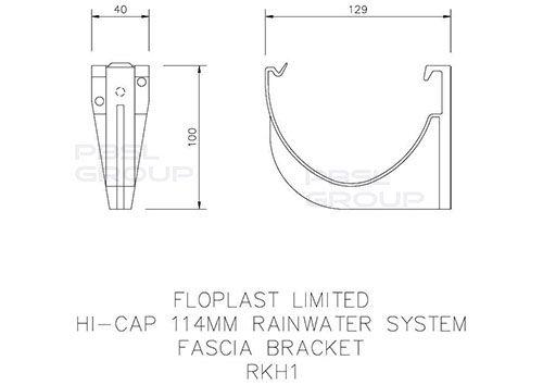 Deepflow/ Hi-Cap Gutter Fascia Bracket - 115mm x 75mm Grey
