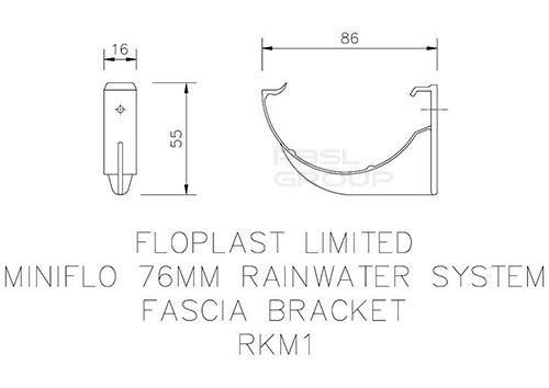 Mini Gutter Fascia Bracket - 76mm Black