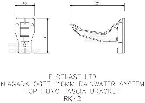 Ogee Gutter Top Hung Fascia Bracket - 110mm x 80mm Brown