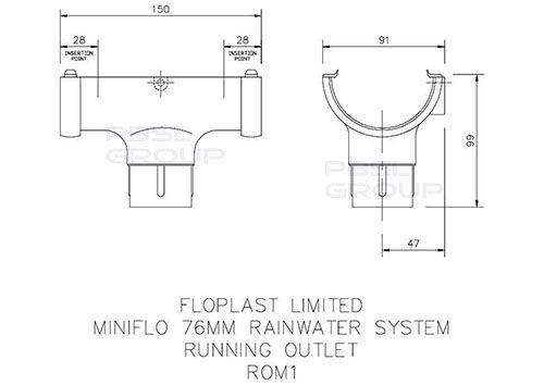 Mini Gutter Running Outlet - 76mm White