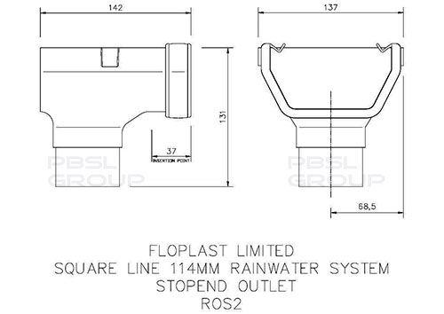 Square Gutter Stopend Outlet - 114mm Black