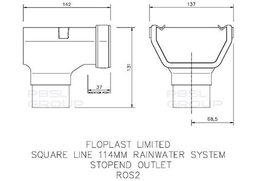 Square Gutter Stopend Outlet - 114mm Brown