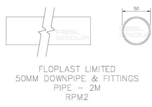 Mini Gutter Downpipe - 50mm x 2mtr Black