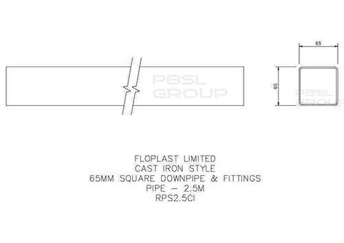Square Downpipe - 65mm x 2.5mtr White