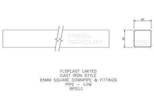 Square Downpipe - 65mm x 5.5mtr White
