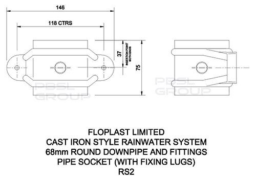 Round Downpipe Socket with Fixing Lugs - 68mm Cast Iron Effect
