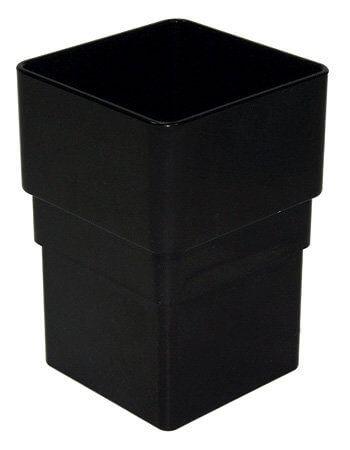 Square Downpipe Socket - 65mm Black