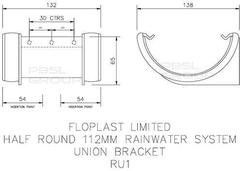 Half Round Gutter Union Bracket - 112mm White
