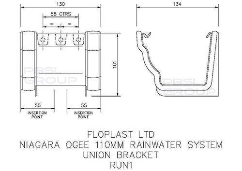 Ogee Gutter Union Bracket - 110mm x 80mm Anthracite Grey