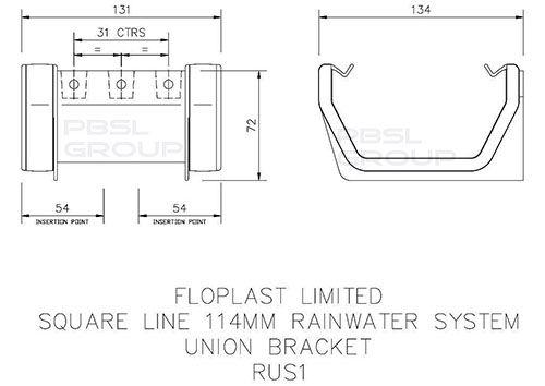 Square Gutter Union Bracket - 114mm Black