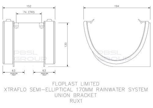 Industrial/ Xtraflo Gutter Union Bracket - 170mm Grey