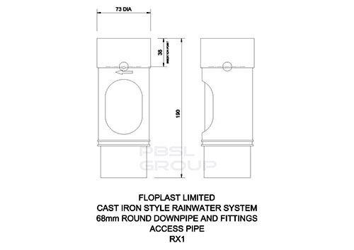 Round Downpipe Access Pipe - 68mm White