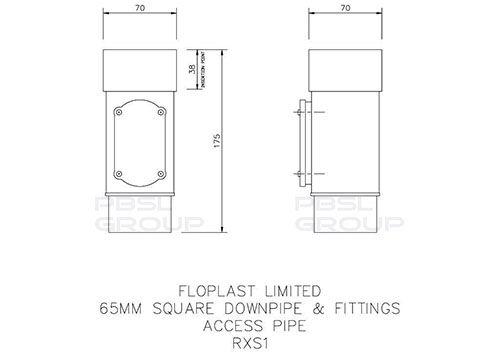 Square Downpipe Access Pipe - 65mm Brown