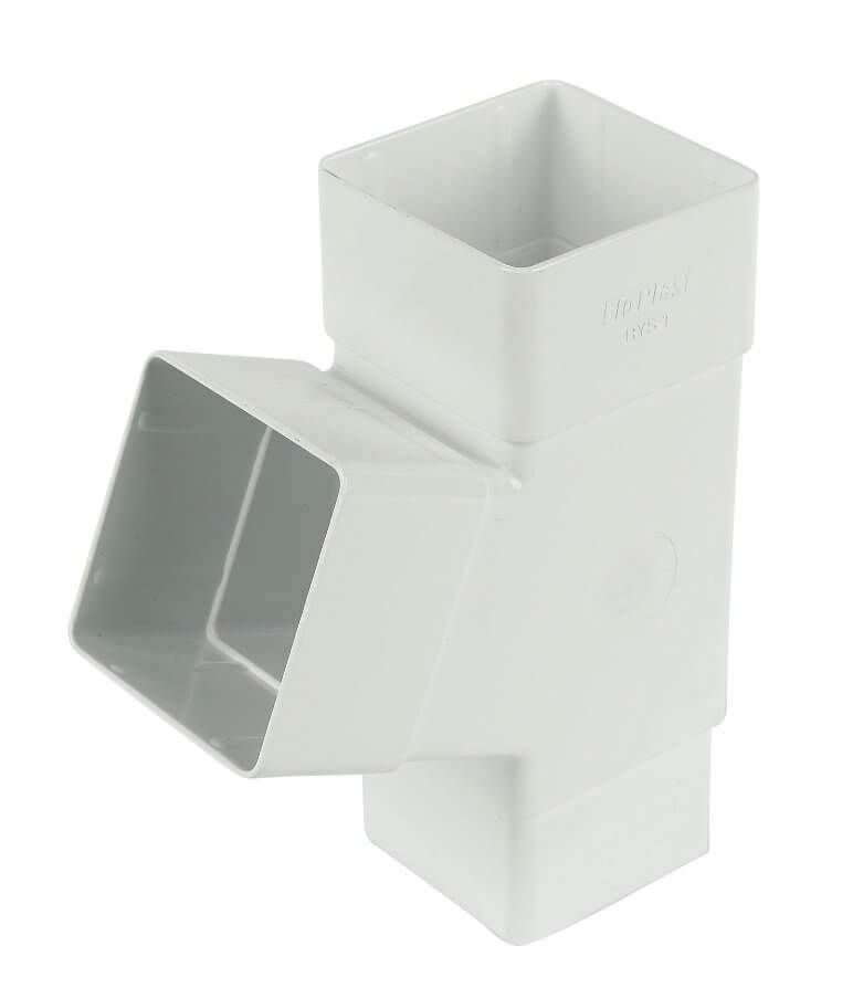 Square Downpipe Branch - 112 Degree White