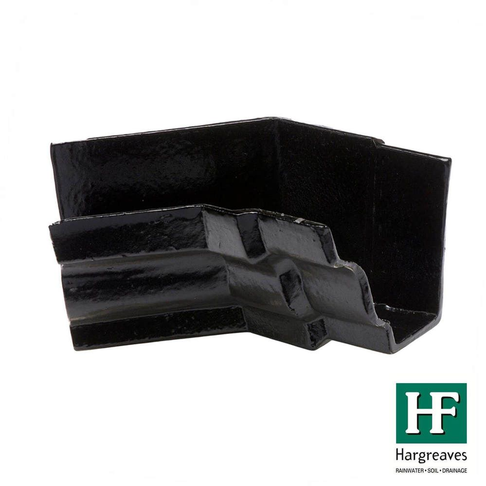 Cast Iron Moulded Ogee Gutter Internal Angle - 135 Degree x 125mm Black