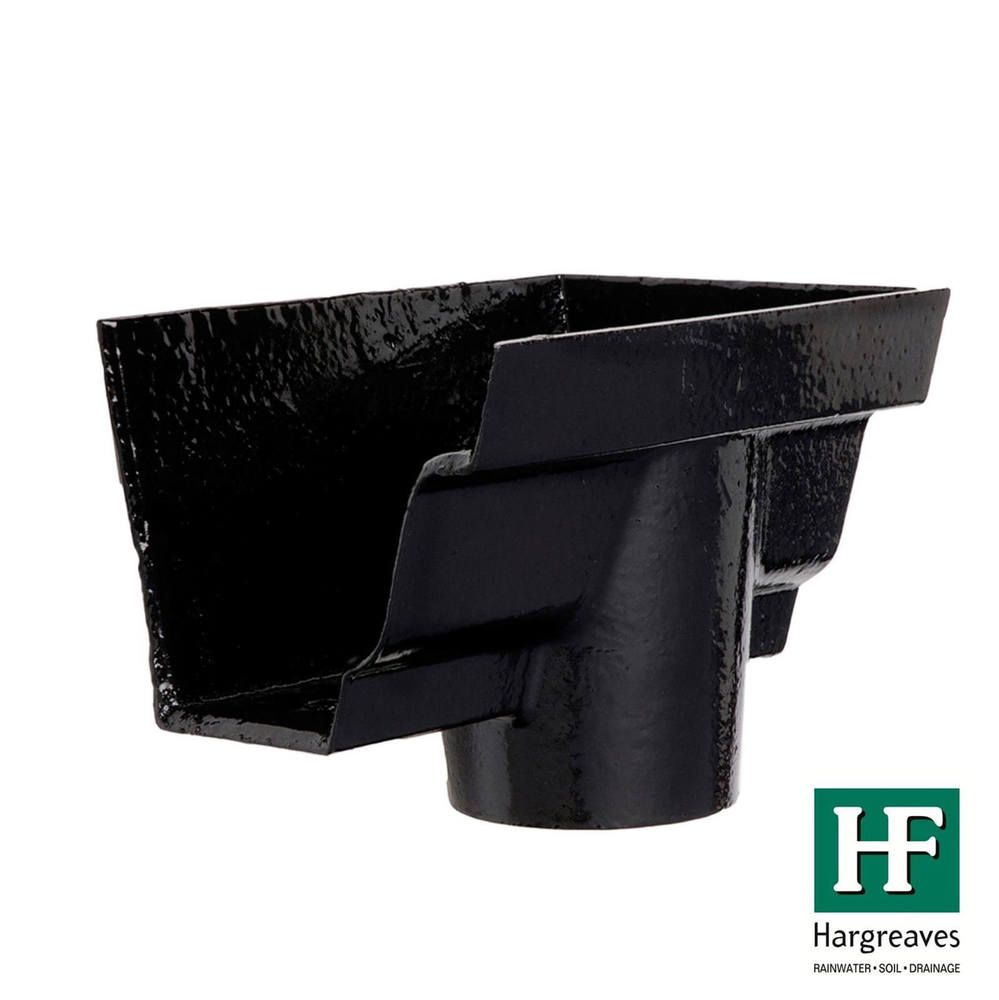 Cast Iron Moulded Ogee Gutter Right Hand Stopend Outlet - 125mm for 100mm Downpipe Black