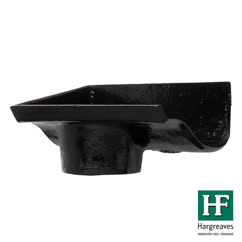 Cast Iron Ogee Gutter Left Hand Stopend Outlet - 100mm for 65mm Downpipe Black
