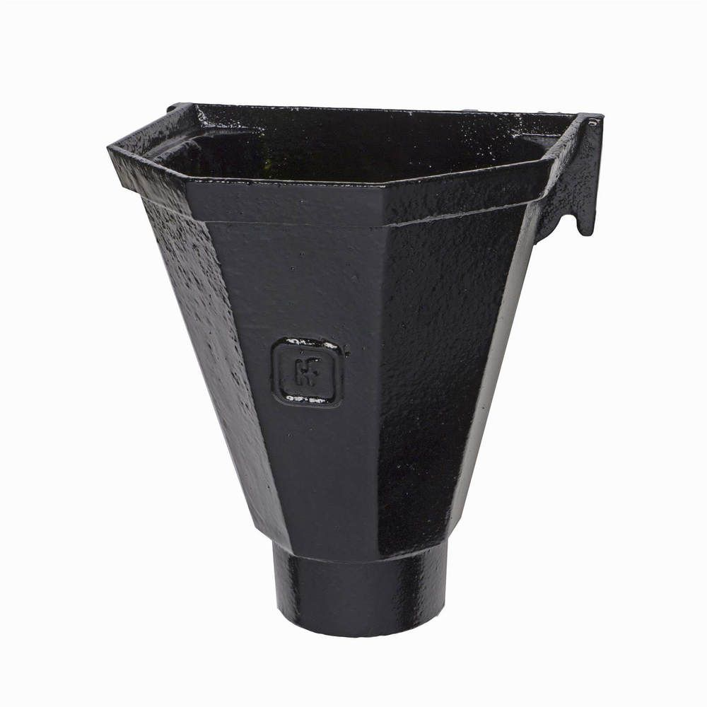 Cast Iron Round Downpipe Hopper Head Flat Back Outlet - 75mm Black