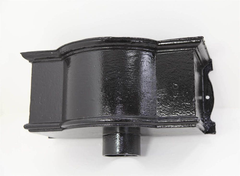Cast Iron Round Downpipe Hopper Head Bow Fronted Outlet - 75mm Black