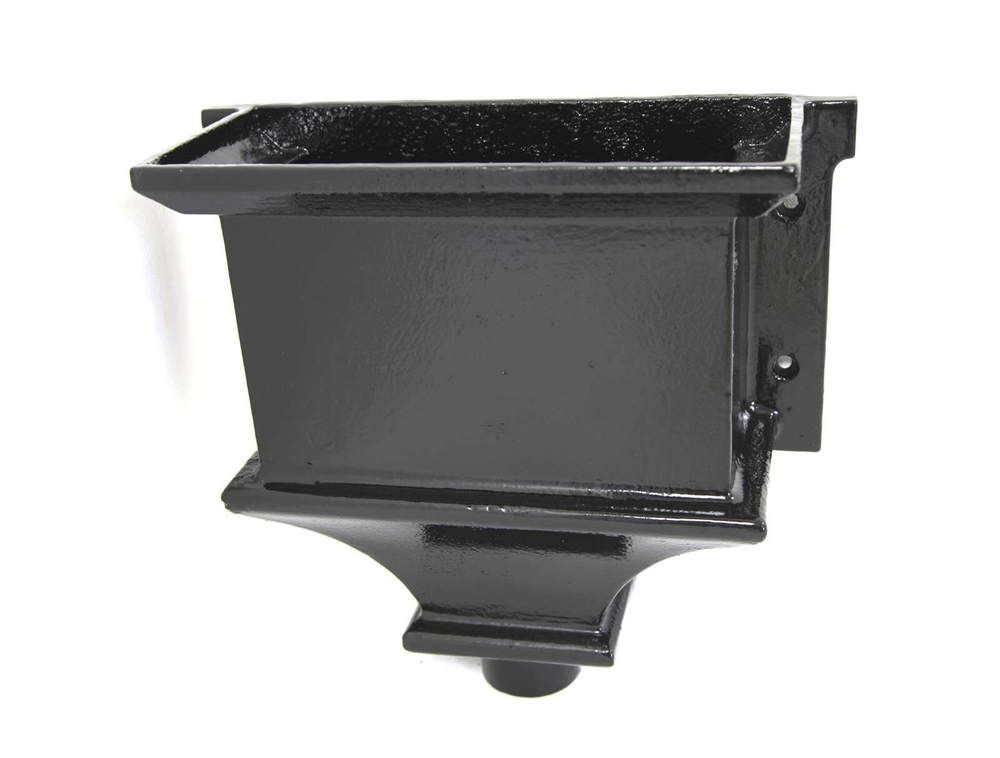 Cast Iron Round Downpipe Hopper Head Traditional Flanged Outlet - 75mm Black